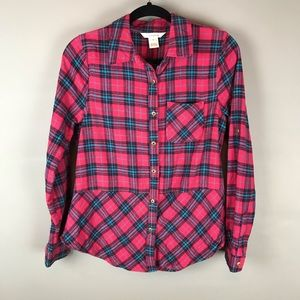 Sundance red plaid flannel button up top